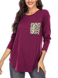 Casual Round Neck Leopard Pocket Solid Color Long Sleeve Top - Luckinchic