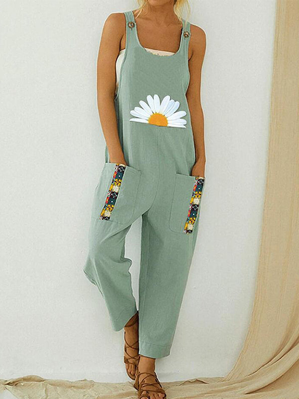 Summer Casual Sleeveless Straps Pockets Daisy Printed Jumpsuit Overalls - Luckinchic