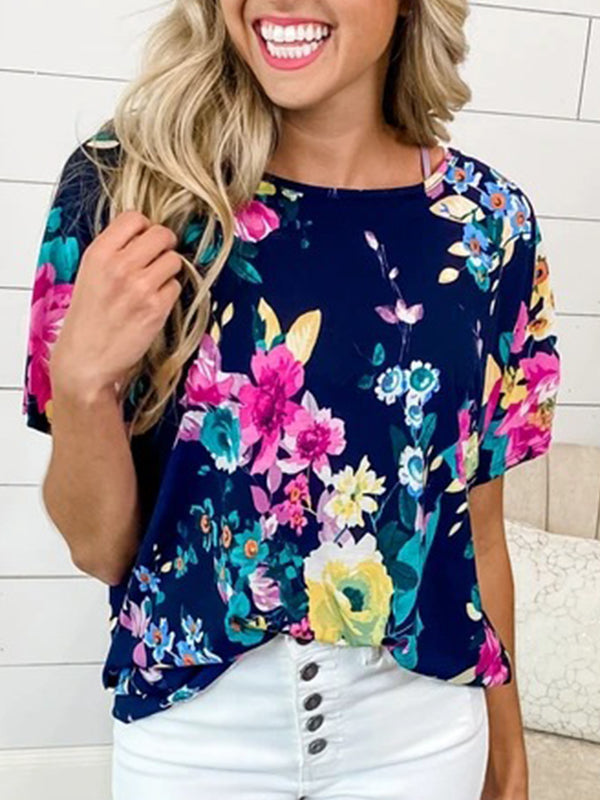 Casual Round Neck Sexy Open Back Floral Print Short Sleeve Loose T-Shirt - Luckinchic