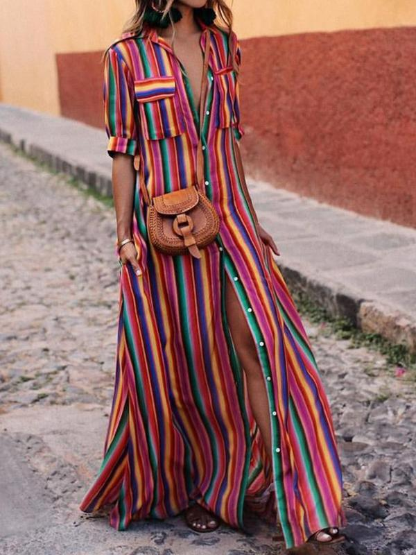 Rainbow Stripe Front Button Pockets Dress