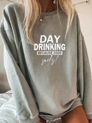 Casual Round Neck Letter Print Solid Color Long Sleeve Sweatshirt Top - Luckinchic