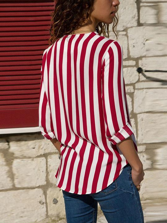 Clearance - V-neck Striped Long Sleeve Blouse - Luckinchic - LuckinChic.com