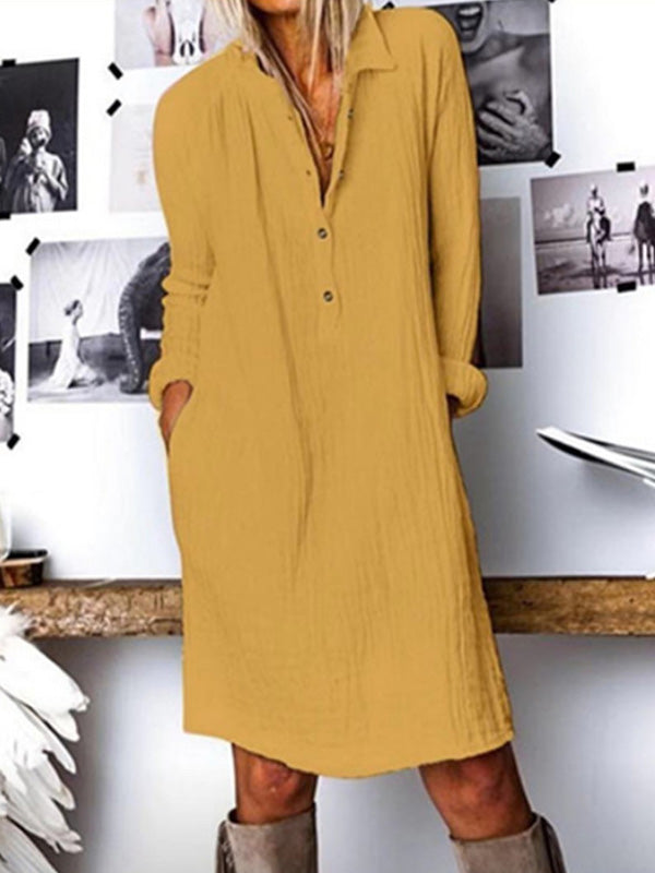 Casual Collared Cotton Linen Solid Color Long Sleeve Dress - Luckinchic