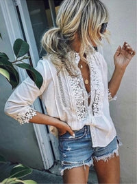 Solid 3/4 Sleeves Lace Blouses - Luckinchic - LuckinChic.com