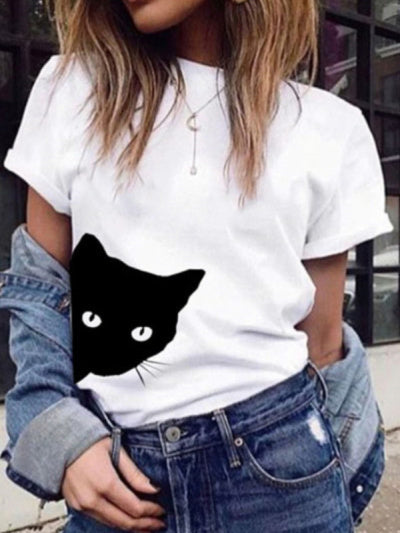 Round Neck Cat Print Short Sleeve T Shirts