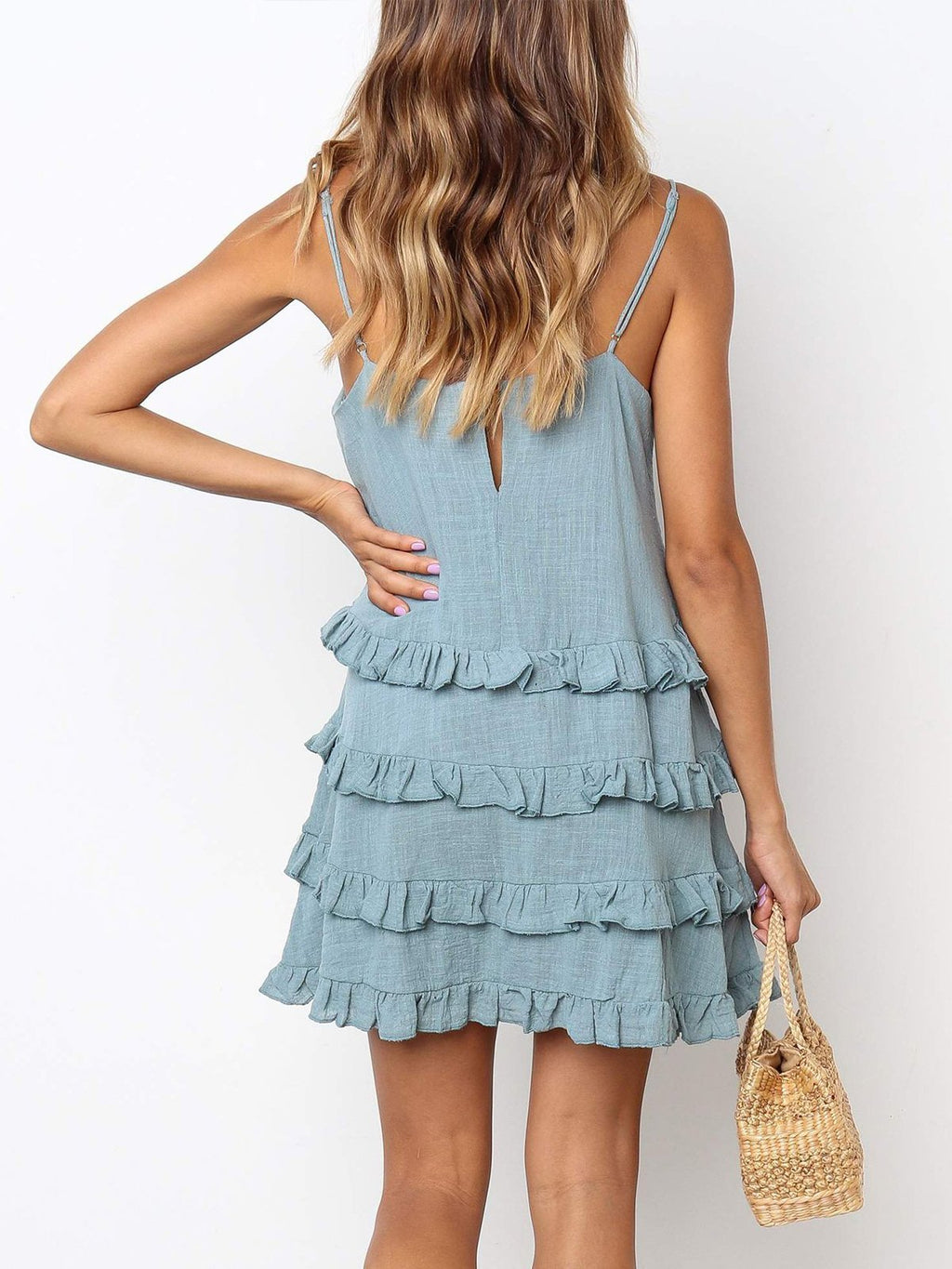 Fashion Plain Casual Mini Dress