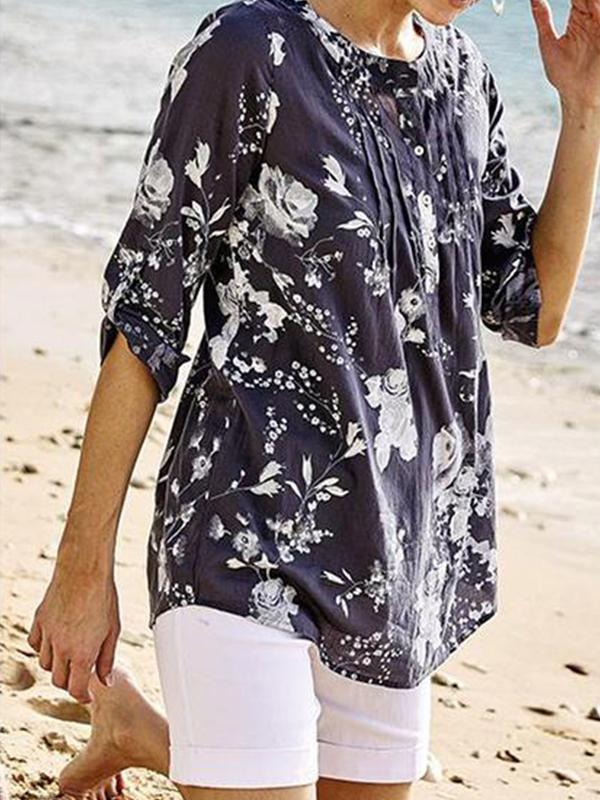 3/4 Sleeve Henry Neck Floral Printed Blouse