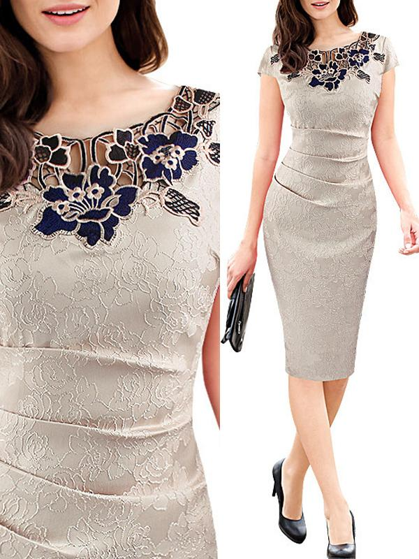 Elegant Lace Round Neck Shift Dress
