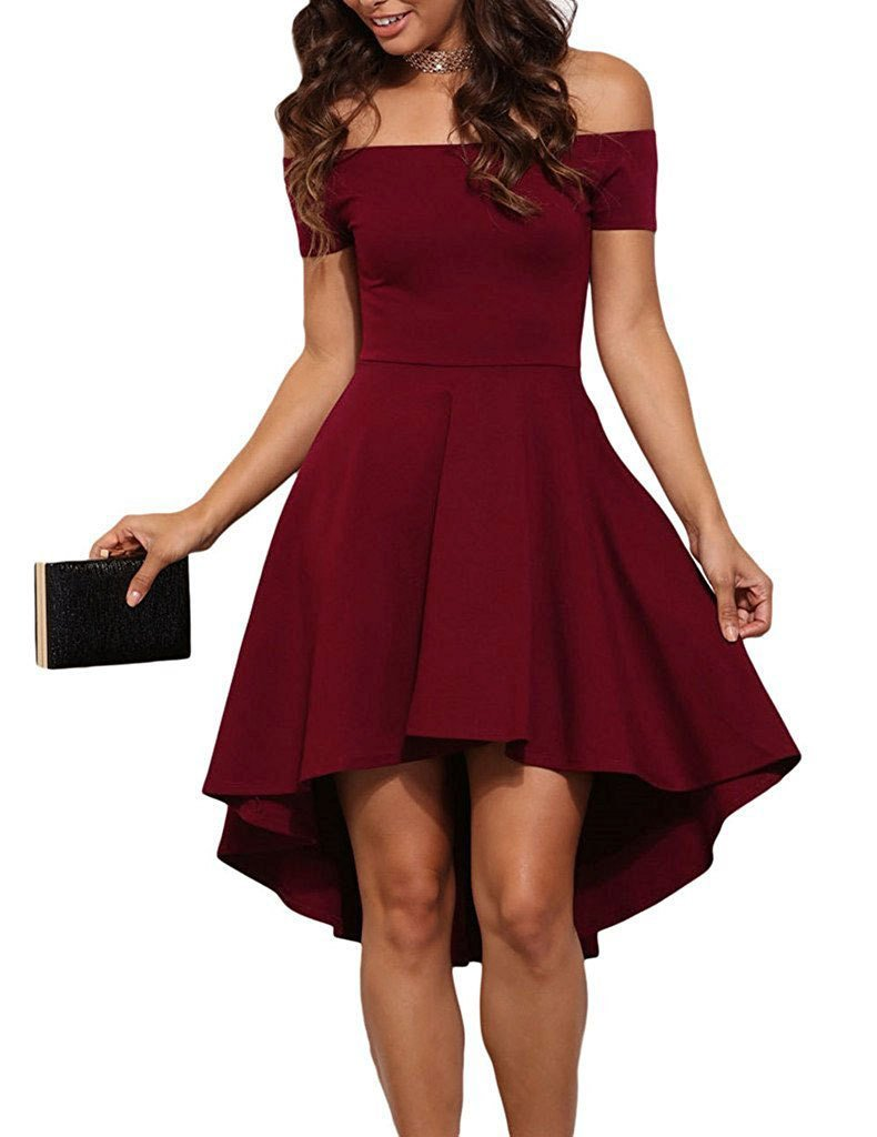 Casual Off Shoulder Short Sleeve Mini Dress