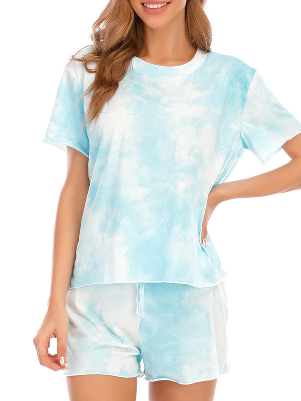 Casual Round Neck Short Sleeve Tie-Dye Printed Pajamas Set - Luckinchic