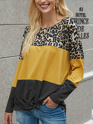 Casual Round Neck Leopard Patchwork Long Sleeve T-Shirt Pullover Top - Luckinchic