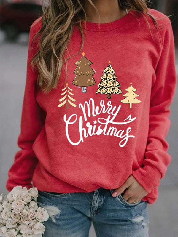 Casual Round Neck Merry Christmas Tree Print Long Sleeve Sweatshirt Pullover Top - Luckinchic