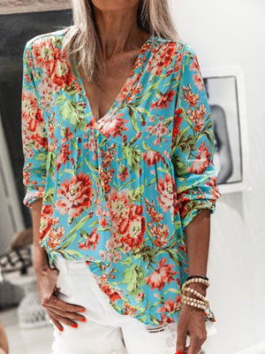 Casual V Neck Floral Printed Long Sleeve Pleated T-Shirt Top - Luckinchic