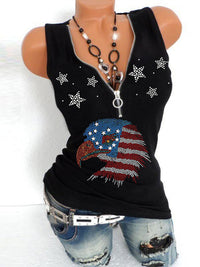 Comfortable Fabric July Fourth Independence Day Zipper V Neck Tank Tops - Luckinchic