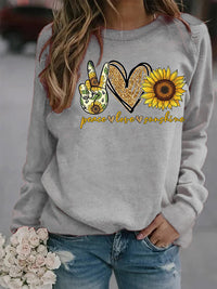 Casual Round Neck Sunflower Letter Printed Long Sleeve Sweatshirt Top - Luckinchic