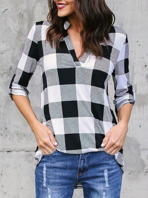 Casual V Neck Color Block Long Sleeve Shirt Plaid Blouse - Luckinchic