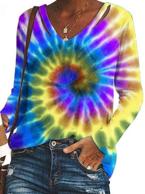Casual V Neck Tie Dye Printed Long Sleeve Loose Top - Luckinchic