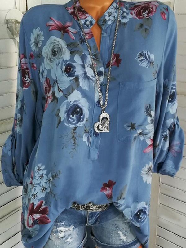 Clearance - Floral Casual Stand Collar Long Sleeve Blouses - Luckinchic - LuckinChic.com