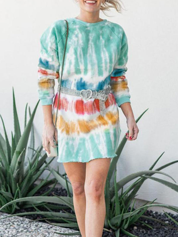 Casual Color Block Tie-Dye Printed Round Neck Long Sleeve Pullover Tops - Luckinchic