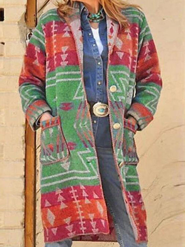 Casual Printed Long Sleeve Cardigan With Pocket Coat - Luckinchic