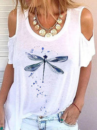 Casual Round Neck Dragonfly Printed Short Sleeve T-Shirt - Luckinchic