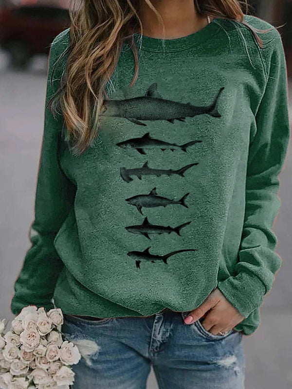 Casual Round Neck Shark Print Long Sleeve Sweatshirt Top - Luckinchic