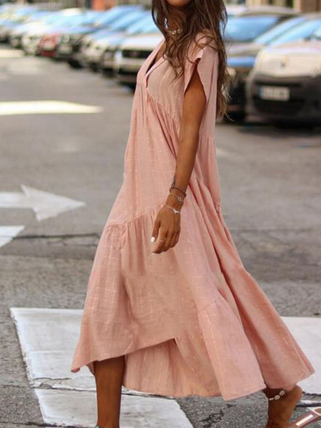 Loose V Neck Solid Color Short Sleeve Dress