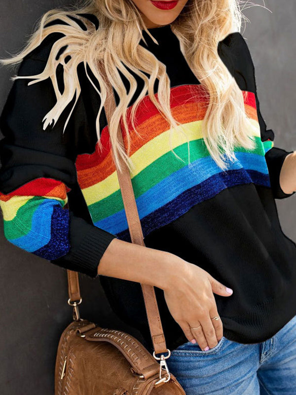 Casual Round Neck Rainbow Color Block Patchwork Knit Sweater Top - Luckinchic