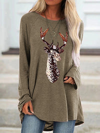 Casual Round Neck Sequin Applique Loose Long Sleeve Top - Luckinchic