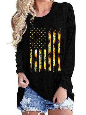 Casual Round Neck American Flag Sunflower Long Sleeve Top - Luckinchic