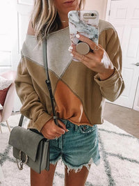 Color Block Casual Oblique Neckline Long Sleeve Blouses