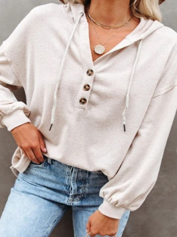 Casual Hooded Drawstring Long Sleeve Button Sweatshirt Top - Luckinchic