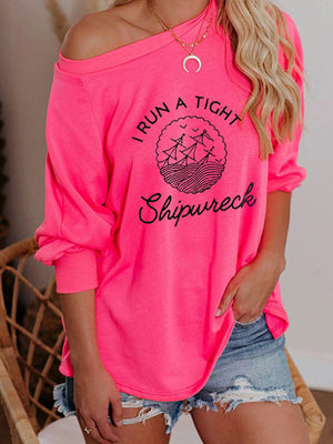 Casual Round Neck Letters Printed Long Sleeve Loose T-Shirt Pullover  Tops - Luckinchic