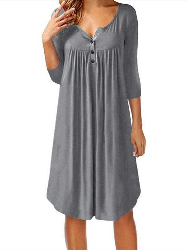 Asymmetrical Solid Buttons 3/4 Sleeves Knee Length Dress