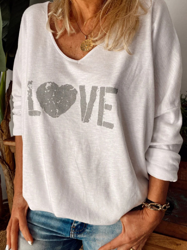 Casual V Neck Graphic Tee Love Letter Print Long Sleeve T-Shirt Top - Luckinchic