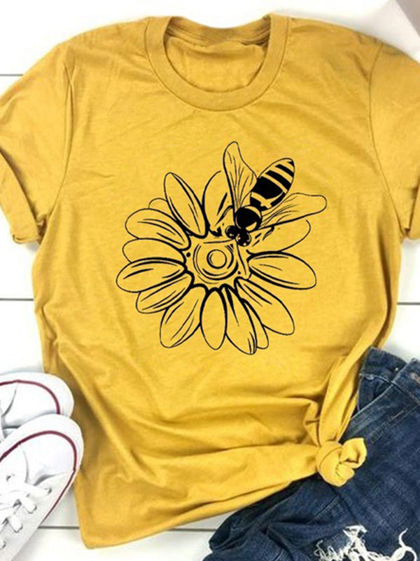 Casual Round Neck Sunflower Bee Print Short Sleeve T-Shirt - Luckinchic
