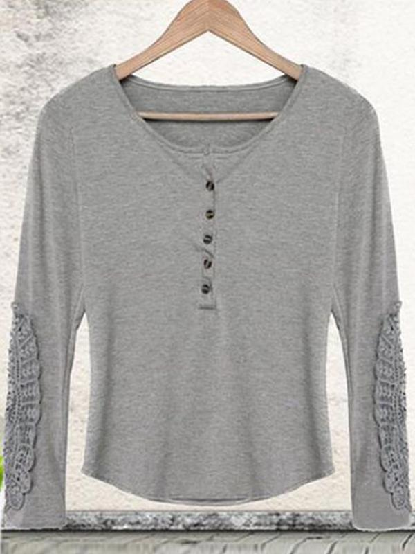 Clearance - Solid Elegant Cotton Round Neckline Long Sleeve T Shirt - Luckinchic - LuckinChic.com