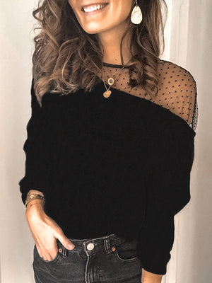 Casual Round Neck Lace Patchwork Solid Color Long Sleeve Top - Luckinchic