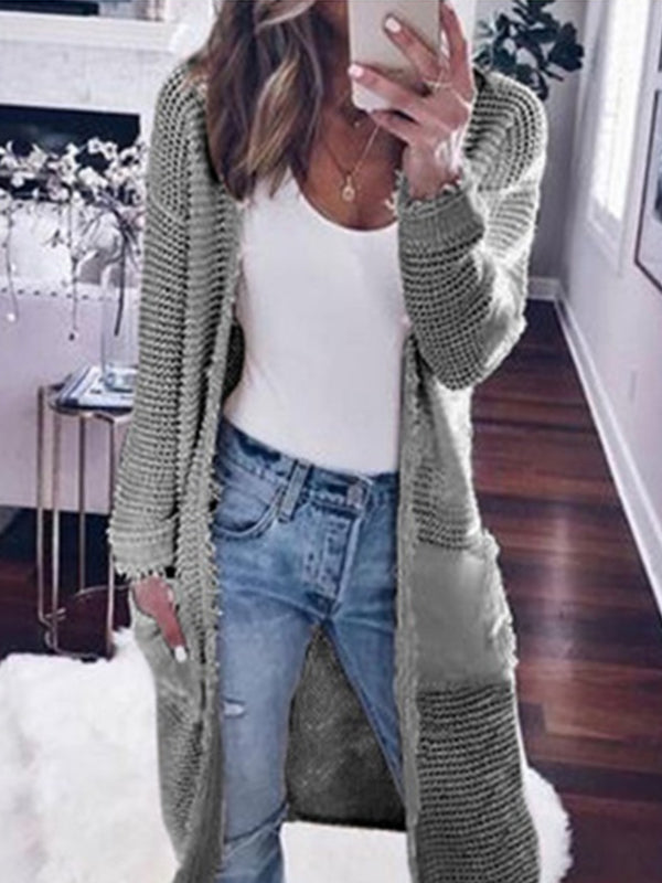 Fashion Long Sleeve Plain Pocket Cardigans Coat