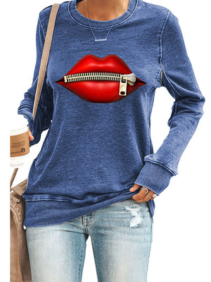 Lip Zipper Printed Casual Round Neck Long Sleeve Pullover Sweatshirt - Luckinchic