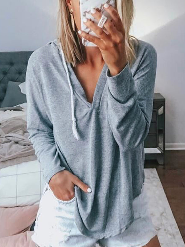 Casual Hooded Solid Color Long Sleeve Pullover Top - Luckinchic