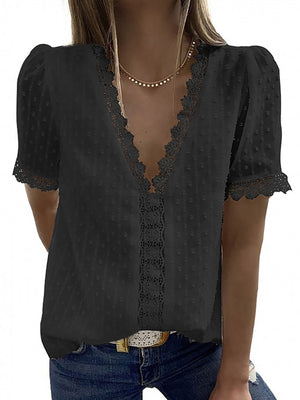 Casual V Neck Solid Color Lace Short Sleeve T-Shirt - Luckinchic