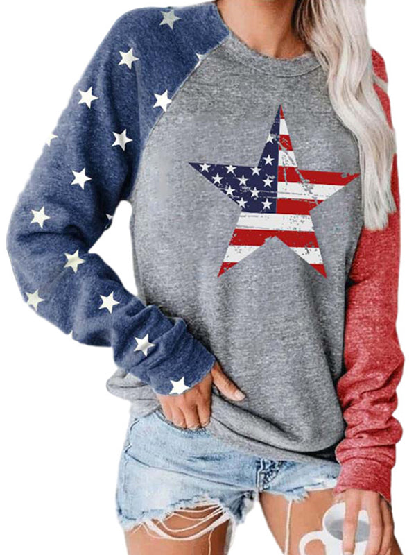 Casual Round Neck Graphic Print Patchwork Long Sleeve Sweatshirt Top - Luckinchic