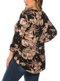 Casual V Neck Floral Print Asymmetrical Irregular Hem Loose Tops - Luckinchic