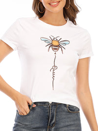 Casual Round Neck Bee Print Short Sleeve T-Shirt - Luckinchic