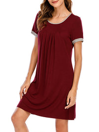 Casual U Neck Solid Color Pullover Loose Short Sleeve Dress Loungewear - Luckinchic