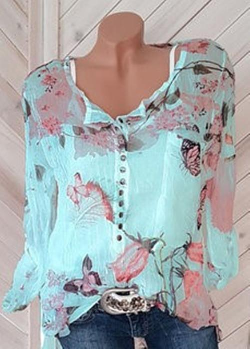 Fashionable Floral Printed Round-neck Long Sleeve Blouses - Luckinchic - LuckinChic.com