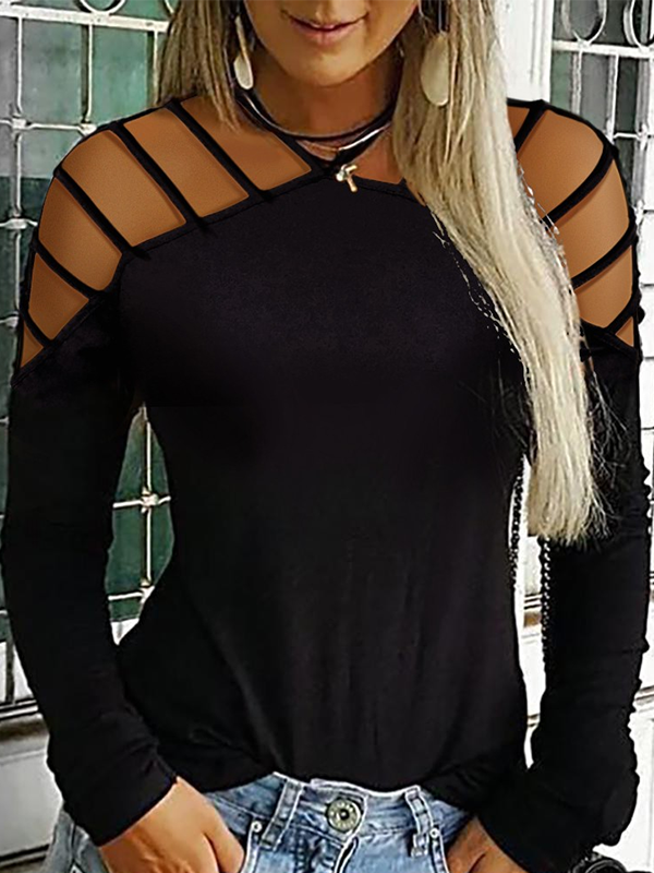 Casual Strap Neck Long Sleeve T Shirts - LuckinChic.com