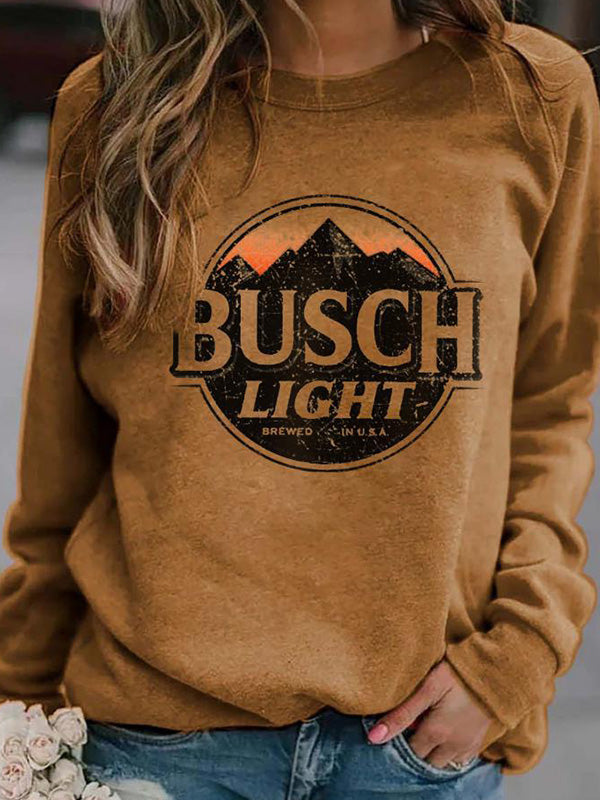Casual Round Neck BUSCH Letters Printed Long Sleeve Loose T-Shirt Pullover Top - Luckinchic