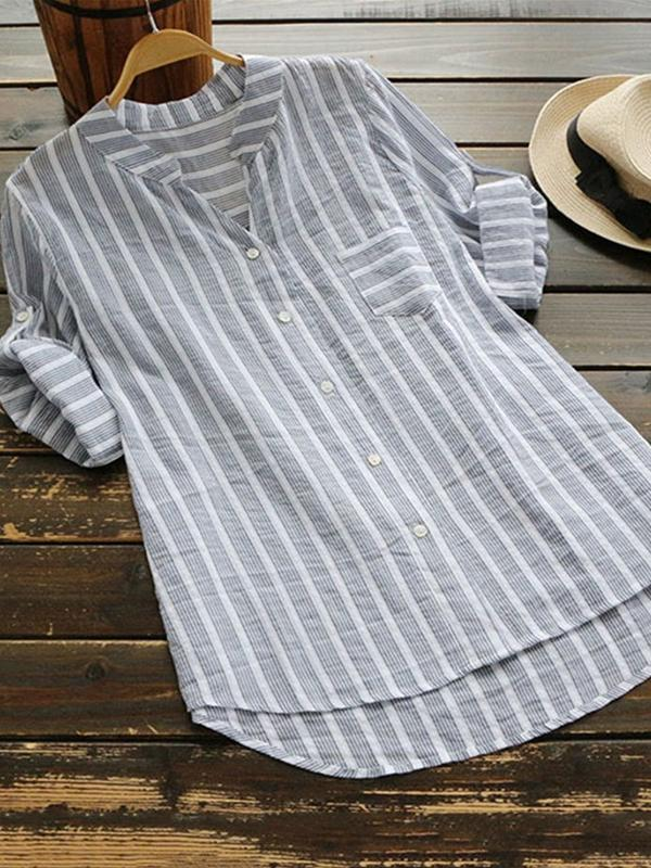 Clearance - Casual Stripe Half Sleeve Asymmetrical Shirts - Luckinchic - LuckinChic.com